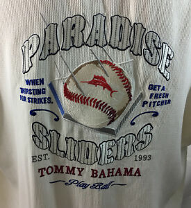 P1 Men's Tommy Bahama Baseball Cubs Button Down Shirt! Sz Large %100 Silk