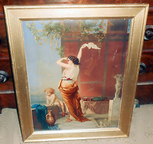 Large 1871 Prang Chromolithograph on Canvas