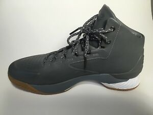 Under Armour Mens UA Curry 1 Lux Mid Lth  Basketball Shoe Size 12 Gray Grey STL