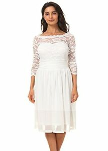 Women's Vintage Formal Floral Lace 34 Sleeve Cocktail Party Dress Size 0X-5X