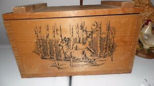 THE CLASSICS EVANS WOOD AMMO STORAGE BOX DEER PICTURE WITH DIVIDED INSERT RUSTIC