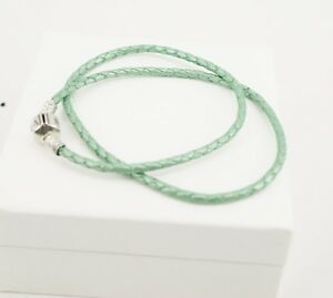 Authentic PANDORA Green Braided Double Leather Bracelet 590705CLG-D
