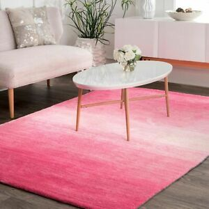 nuLOOM Hand Made Contemporary Modern Ombre Area Rug in Pink $106.99