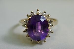 Vintage 14K Yellow Gold Amethyst and Diamond Cocktail Ring Size 6