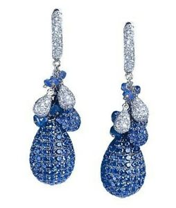 Blue pave set statement party cocktail earrings white solid 925 sterling silver