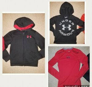 LOT 3 boys winter Under Armour black fleece hoodie active tops Youth Small 810