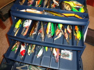 REALLY FULL THREE TIER PLANO TACKLE BOX WITH OVER SIXTY (60) FISHING LURES