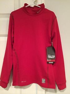 NWT Nike Kids Pro Combat Dri Fit Red Long Sleeve Shirt Size Small