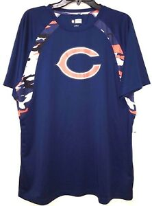 NWT  NFL Men Chicago Bears  Dry fit Camo Colorblock Short Sleeve Shirt *L