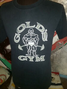 VTG 90s Golds Gym California workout muscle dumbbell cotton t shirt 42L
