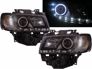 TRANSPORTER T4 96-03 CCFL Pro LED DRL R8Look Headlight BK for VW Volkswagen RHD