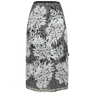 Erdem Shimmer Black White Floral Applique Distress Tweed Pencil Skirt UK10 IT42