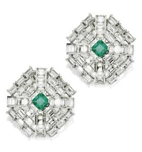 Green Baguette Stud Statement Cocktail Party Earrings 925 Sterling Silver Cz New