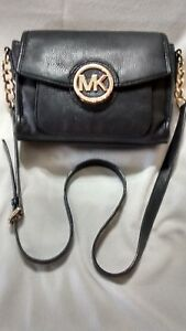 Michael Kors Cross Body Shoulder Fulton Chain and black Leather Adjustable Strap