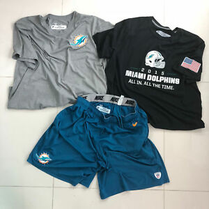 Dan Campbell Miami Dolphins NFL Game Used Nike Dri Fit Shirts Shorts Lot 2XL