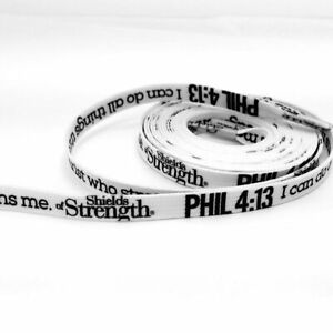 White Shoe Laces with Phil 4:13 in black-48 inches Shields of Strength