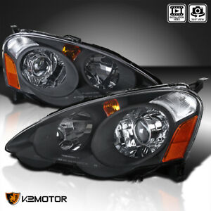 For 2002 2004 Acura RSX Black Retro Style Projector Headlights Lamps LeftRight $159.38