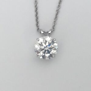 NATURAL ROUND E VS2 DIAMOND SOLITAIRE PENDANT NECKLACE 14K WHITE GOLD 12 CARAT