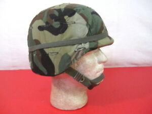 US Army PASGT Ground Troop Helmet made wKevlar wWoodland Helmet Cover - Small
