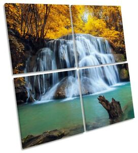 Tropical Forest Yellow Waterfall Picture MULTI CANVAS WALL ART Square
