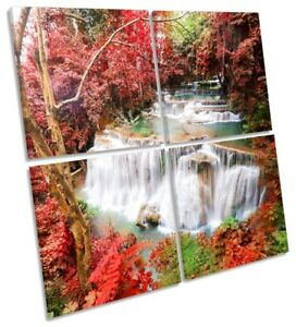 Red Tropical Landscape Picture MULTI CANVAS WALL ART Square