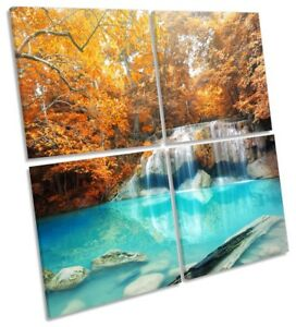 Orange Tropical River Trees Picture MULTI CANVAS WALL ART Square
