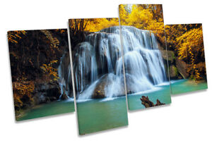 Tropical Forest Yellow Waterfall Picture MULTI CANVAS WALL ART Print