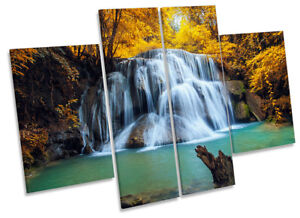Tropical Forest Yellow Waterfall Picture CANVAS WALL ART Four Panel