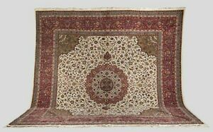 Semi Antique C1970 Fine Hand Knotted Tabriz Square Persian rug 100% Silk