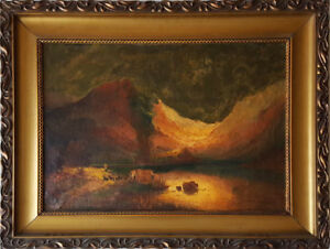 Antique Oil Painting Shepherd wCattle Mountainous Scenery G. Miller 50 x 70cm