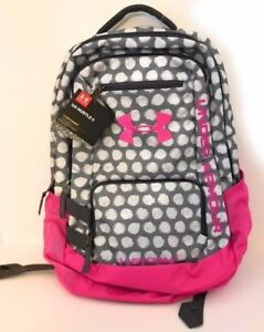 Under Armour UA Storm One 1 Hustle II Backpack Pink Gray Polka Dots -NEW