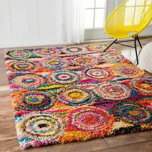 nuLOOM Contemporary Modern Geometric Shag Area Rug in Red Pink Blue Yellow $53.99