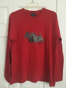 Vintage RARE Ralph Lauren Polo Sport Hunting Dog Long Sleeve Shirt Red Sz Large