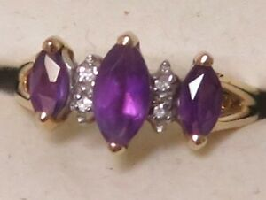 Designer 14k Yellow Gold Amethyst Marquise Band Ring w Diamond Accents Sz 6.75
