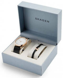 Men's Skagen Jorn Black Leather Band Watch and Bracelet Set SKW1102