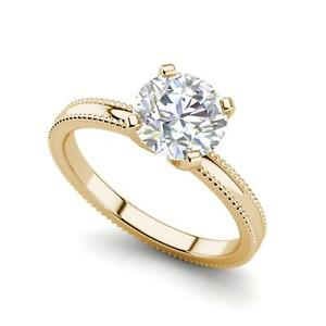 Milgrain Solitaire 0.5 Ct VS2D Round Cut Diamond Engagement Ring Yellow Gold
