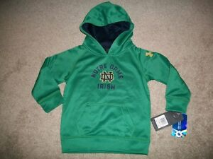 NWT BOYS GIRLS SIZE 2T UNDER ARMOUR NOTRE DAME ALL SEASON GREEN HOODIE $46