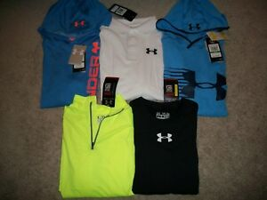 NWT LOT OF 5 BOYS SIZE YLG UNDER ARMOUR LOOSE FIT HOODIES LS SS TOPS MSRP $150 +