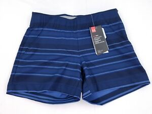 NWT Under Armour Womens UA Fitted Links Printed Shorts - Size 0 2 12 Blue