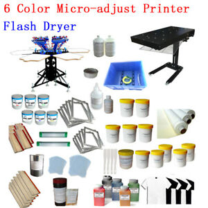 6 Color Screen Printing Press Hobby Kit with Flash Dryer & Chemical Hand Tools