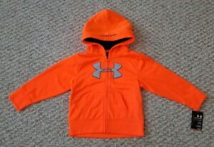 Under Armour NEW wTags Toddler Boys Orange Full Zip Hoodie Size 24 Months
