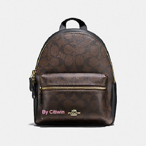 New Coach F58315 Charlie  MINI Backpack Shoulder BagSignature Brown Black PVC
