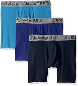 "Men's Under Armour Charged Cotton Stretch 6"" Boxerjock 3 Pack Brilliant..."