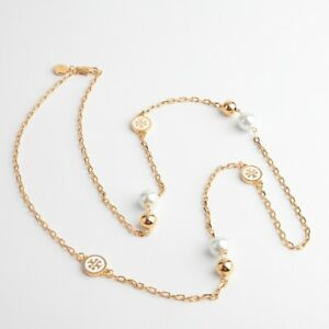 Tory Burch Lacquered Rosary Logo Gold Long Necklace White