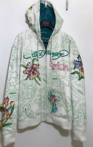 Men's RARE ED HARDY White Leather Embroidered Zip Hoodie Jacket Coat Size 3XL