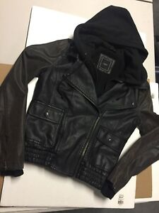 Obey Women's Black Hoodie Sweater Faux Leather Jacket w Brown Distressed Sleeves