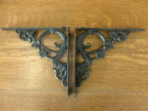 2 BROWN ANTIQUE STYLE 9.5quot; SHELF BRACKETS CAST IRON rustic garden LEAF SWIRL
