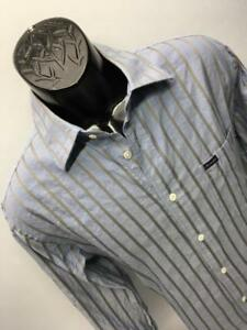 Mens Faconnable Club France L Large Blue Striped Dress Shirt Casual Designer N92