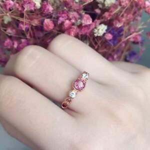 Pure Natural Pink Tourmaline Ring Retro Style 925 Silver Finger Adjusted wedding