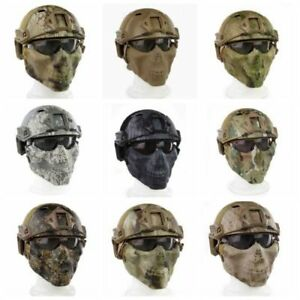 TACTICAL LIGHTWEIGHT ABS FAST HELMET MASK GOGGLE SET FOR AIRSOFT CS ARMY WARGAME